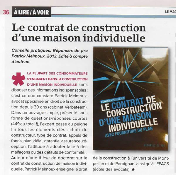 Le contrat de construction d'une maison individuelle avec fourniture du plan dans la lettre M le Mag