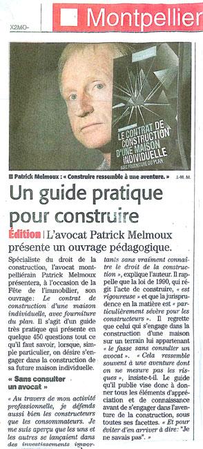 Patrick Melmoux Midi Libre Contrat de construction maison individuelle