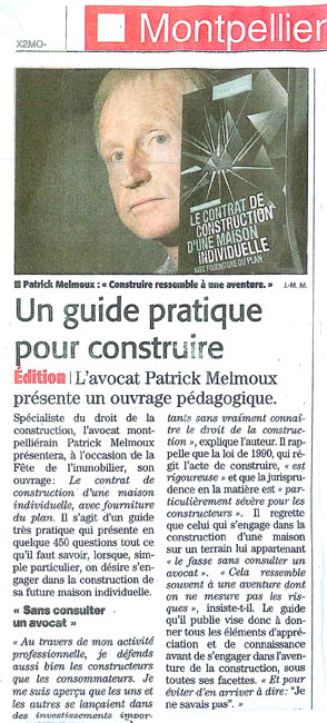 Patrick melmoux midi libre contrat de construction maison for Contrat construction maison individuelle
