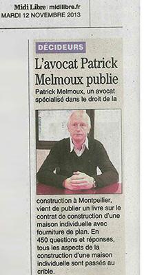 Patrick Melmoux : le contrat de construction d'une maison individuelle avec fourniture du plan dans Midi Libre